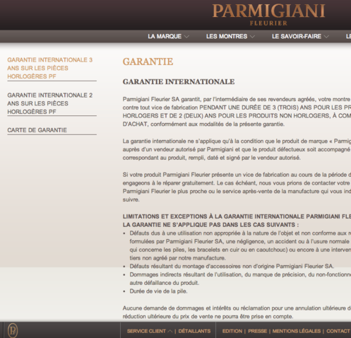 Parmigiani Fleurier customer service - Guarantees