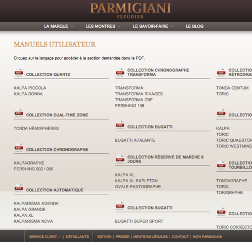 Parmigiani Fleurier customer service - User manuals