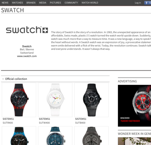 Watchonista - Marques : Accueil Swatch (non partenaire)