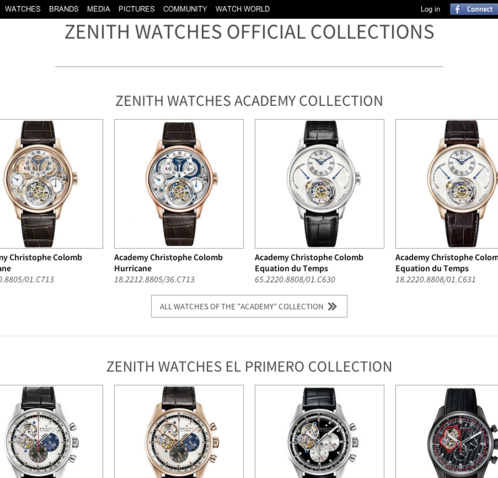 Watchonista - Marques : Zenith, les collections